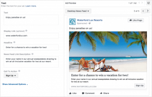 Example of creating Facebook Lead Ad