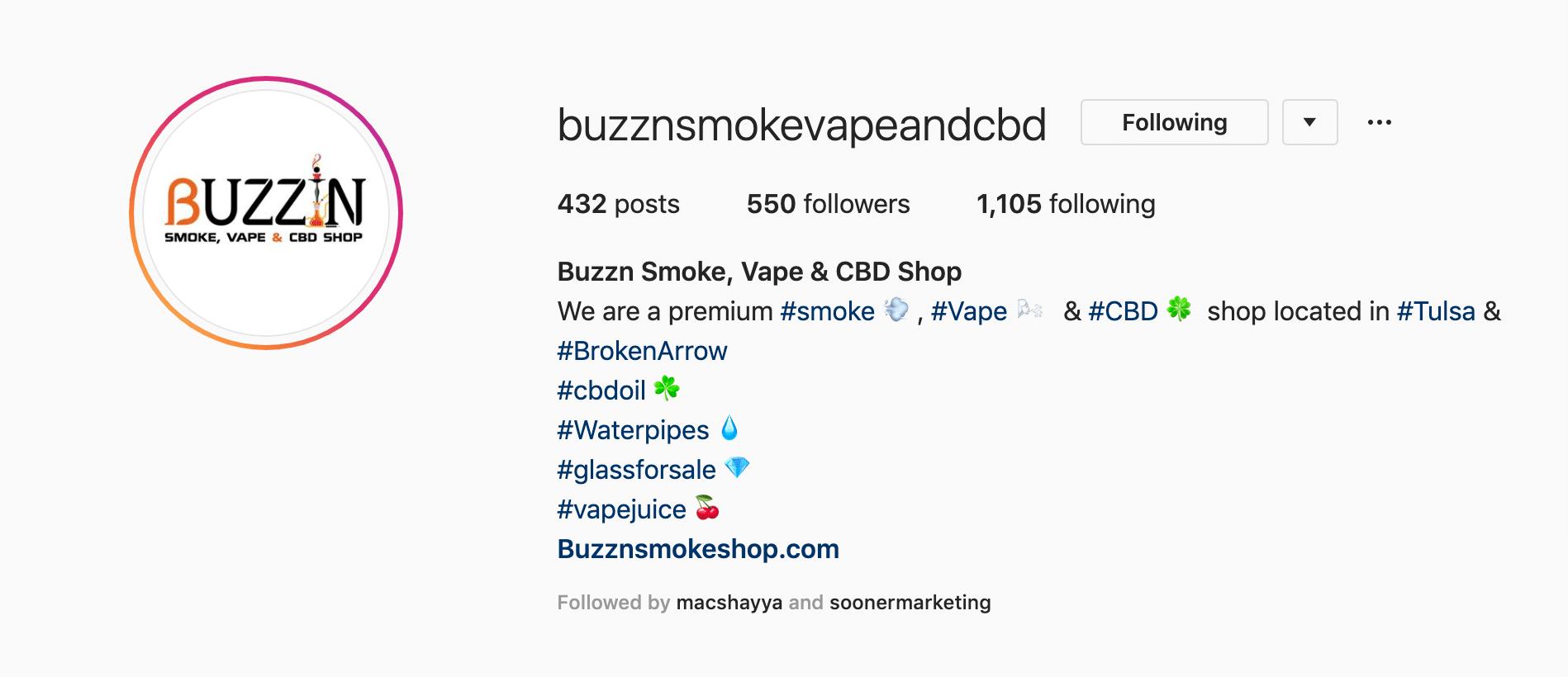 Buzzn Smoke Vape & CBD Shop Instagram Page