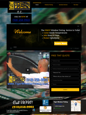 Tiger Window Tinting New Web Design by Sooner Marketing Solutions 2015