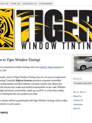 Tiger Window Tinting Old Web Design