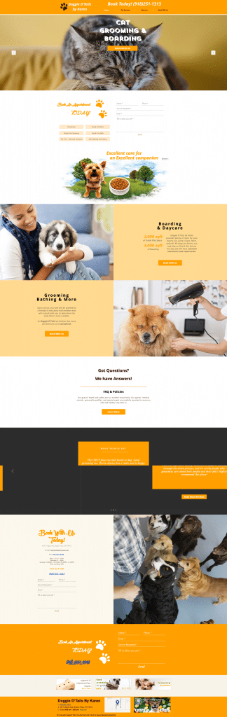 Doggie D'Tails Home Page After Sooner Marketing Solutions Web Design