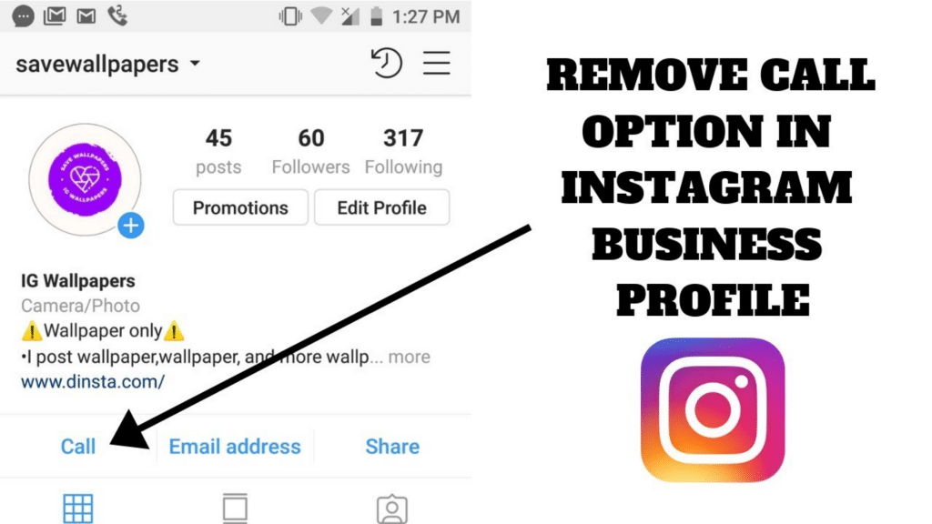 Removing an Instagram Call to Action Button