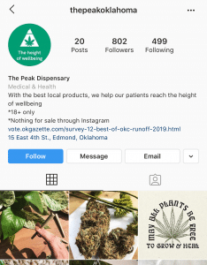 The Peak Dispensary Instagram page