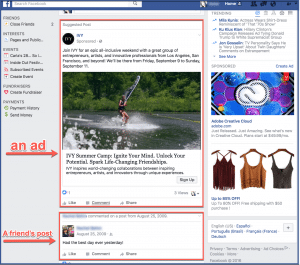 Facebook ad newsfeed placement example