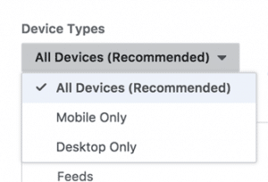 Facebook ad placement device options