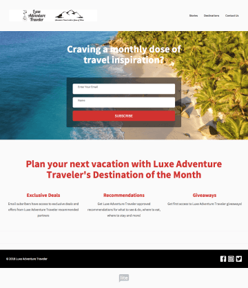 Example of a landing page.